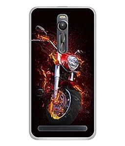 FUSON Designer Back Case Cover for Asus Zenfone 2 ZE551ML (Fire Bike Motorcycle Firefighters Full Suspension )