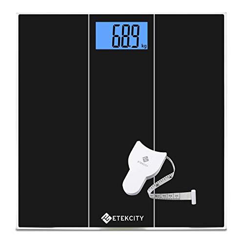 Etekcity bilancia pesapersone professionale elettronica ad alta precisione, bilancia pesa persona digitale 180kg/400lb con tecnologia step-on, display retroilluminato blu, metro nastro incluso