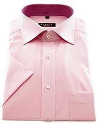 ETERNA Herren Kurzarm Hemd Modern Fit Chambray rosa mit Patch 8500.51.C157