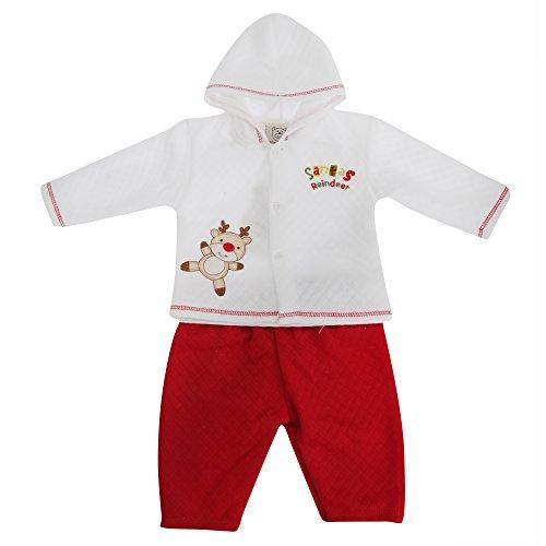 Baby Unisex Set Kapuzenjäckchen und Hose mit Rentier-Design (Neugeborene) (Weiß/Rot)