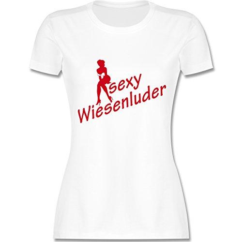 Oktoberfest Damen - Sexy Wiesn Luder sitzend - tailliertes Premium T-Shirt mit Rundhalsausschnitt für Damen Weiß