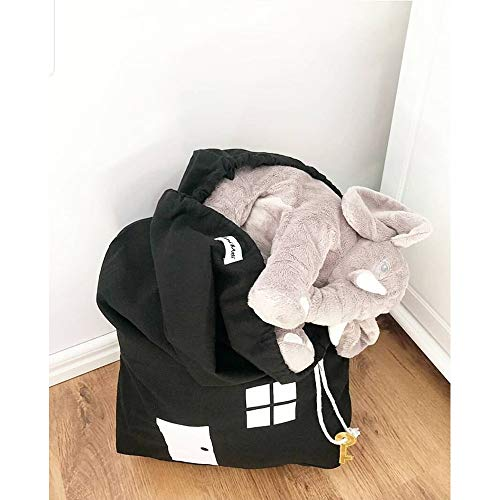 Kordelzug - Kids Bath Toy Aufbewahrungsbeutel - Kleidung Canvas Organizer - Space Saver Container für Home Office-Reisen (Color : Schwarz) ()
