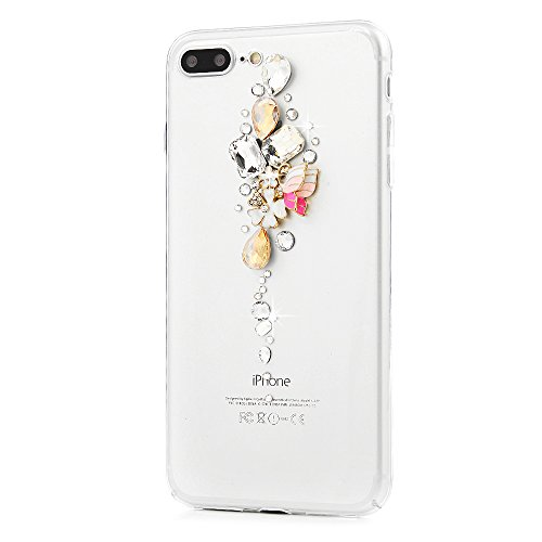 Custodia iPhone 7 Plus,Trasparente Fatto a mano 3D Glitter Bling Strass Cover Rigida Plastica Hard - MAXFE.CO Case Cristallo Diamante Plastica PC Duro Protettiva - Farfalle, fiori Farfalle, fiori