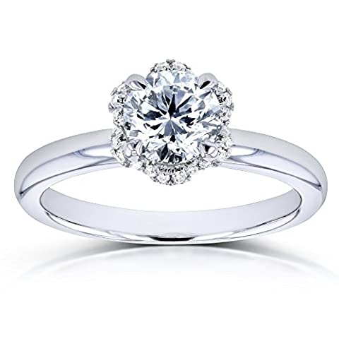 Diamond Wavy Halo Floral Engagement Ring 7/8ct TDW in 14k White Gold - Size 9