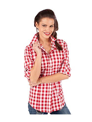 orbis Textil OS-Trachten Trachtenbluse 950000-3052 Blockkaro Rot, 48