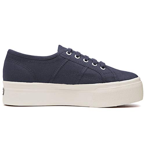 Superga Women's 2790 Linea Up & Down Flatform Canvas Trainer Navy-Navy-5 Size 5