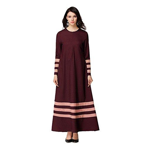 Meijunter Femme Musulman vêtements Islamic Manche longue Patchwork Couleur Bande Maxi Dress Robes Wine Red