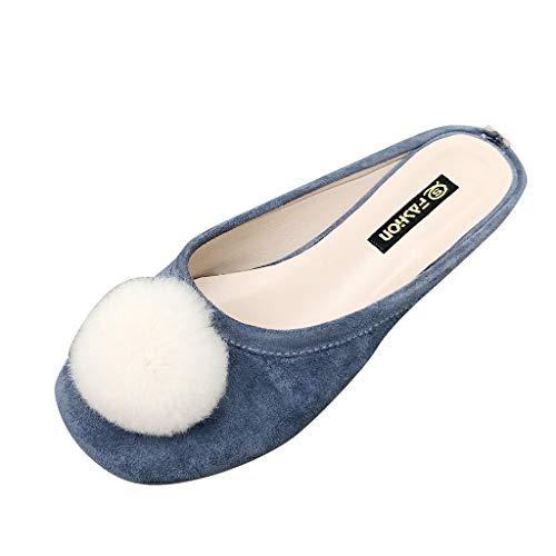 Eaylis Damen Shallow Mouth Hair Ball Flachen Boden Scoop Schuhe Pelz Schuhe In Volltonfarbe Gewickelt Sandalen Sommer Strand Schuhe Hausschuhe Stilvoll