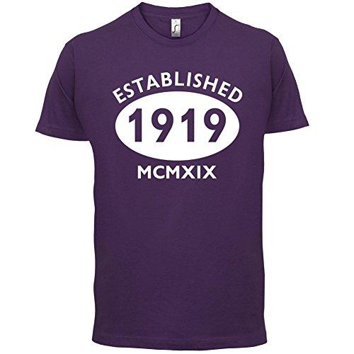 Gegründet 1919 Römische Ziffern - 98 Geburtstag - Herren T-Shirt - 13 Farben Lila