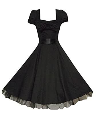 1950's Vintage Style Black Bow Detail Classic Party Prom Tea Dress (20)