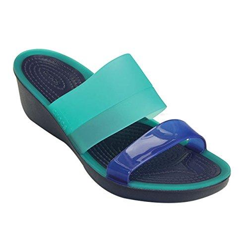 Crocs Colorblock W, Sandales - Femme Bleu - Bleu