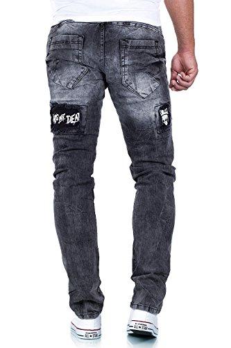 Cipo & Baxx Herren Jeans Freizeit Hose Streetwear Clubwear Zerissen Aufnäher TOP Grau