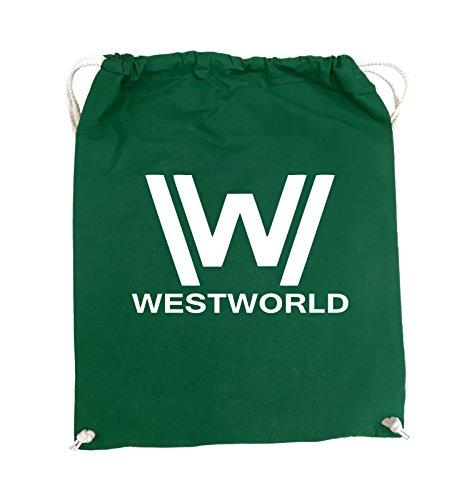 Borse Comiche - Westworld - Logo - Turnbeutel - 37x46cm - Colore: Nero / Rosa Verde / Bianco