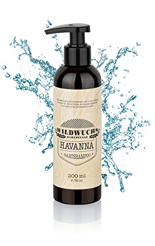 Bartshampoo HAVANNA von Wildwuchs Bartpflege (200 ml), Bartseife für Männer und schonende Bartreinigung mit karibischem Duft