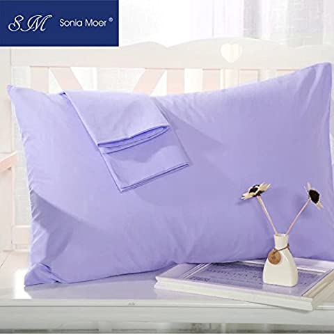 Set of 2 Premium 50% Cotton 50% Polyester 200 Thread Count Pillow Cases by Sonia Moer, (Lavender)
