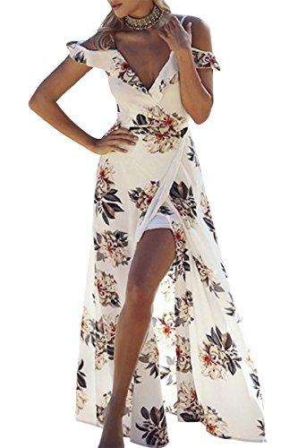 50er Jahre Jungs Kostüme (YMING Damen Formal Kleid Tief V-Neck Abendmode Ärmellos Kleid Blumen Druck Teilt Kleid Partykleid Cocktail)