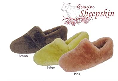 Luxury Ladies Girls Super Soft Genuine Sheepskin Slippers with Full Back - Size 5, Brown