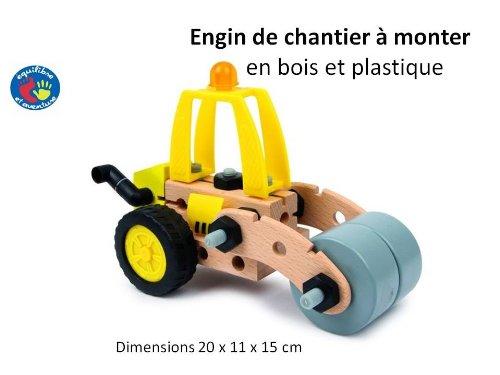 Rouleau compresseur de chantier, maquette à monter en bois et plastique