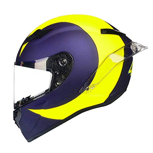 Woljay Integralhelm Helm Motorradhelm Motocross Offroad Moto Street Helme Fahrrad Helme (S, Blau u Gelb)
