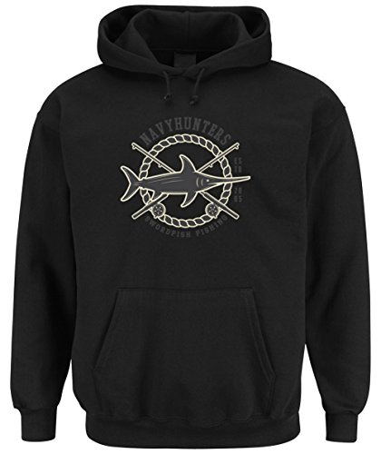 Swordfish Fishing Hooded Sweater Black Certified Freak-XXL (Sweatshirt Boot Hooded)