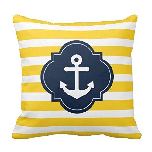 Dekorative Blau Weiß Gelb Maritim Anker gestreift Kopfkissenbezug Werfen Kissen Kissenbezug Sofa Kissen Displayschutzfolie (Dekorative Kissen-abdeckungen Blau)