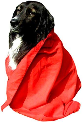 hundeinfo24.de jowiha Hunde Handtuch in Rot Mikrofaser Handtuch 130×80 Super Saugfähig und Schnell trocknend