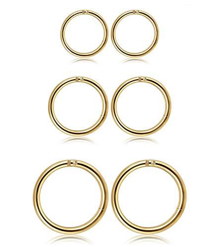 Ohr Piercing Creolen Lippen Septum Piercing Ohrringe für Männer Frauen,3 Paar ()