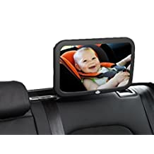 Espejo retrovisor de bebé para coche California Basics: extra grande, con vista frontal amplia, monitor trasero ajustable para la seguridad del bebé