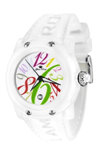 Glam Rock Unisex Quartz Watch With White Dial Analogue Display And Silicone Bracelet 0.96.2379