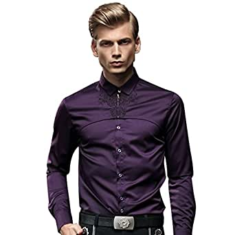 FANZHUAN Men's Purple Shirt Long Sleeve Dress Shirt Non Iron Casual Slim Fit