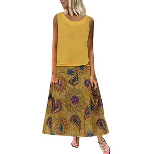 BHYDRY 2 STÜCK Frauen Täglich Baumwolle Leinen Vintage Print Ärmellos Lose Plus Size Maxi Kleid