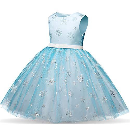Likecrazy Weihnachten Kleider Kinder Mädchen Schneeflocke Drucken Princess Dress Tutu Festlich Kleider Mode Babybekleidung Weihnachten Kostüme für Baby(Blau,100(24Monat)) (Schneeflocke Kostüm Baby)