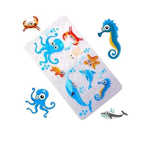 WARRAH Premium None-Slip Kids Tappetino da Bagno - Anti scivoloso novità Doccia - Tappetino da Bagno Pavimento tappetini Antiscivolo Vasca da Bagno per Neonati, Bambini Blu Octopus