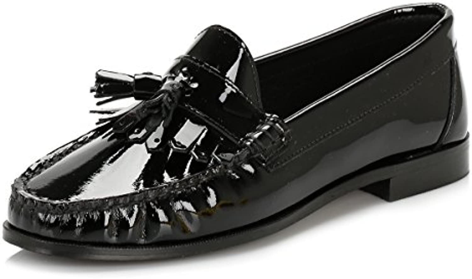 Tower Mujer Negro Patent Cuero Tassel Loafers