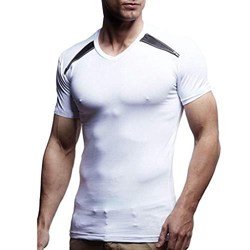 VENMO Tops Herren T-Shirt Basic Rundhals Shirt Kurzarm Casual Top Slim Fit MäNner GrößE Kurzarmshirt Print O-Neck Sommer Feiertags Tee Bluse Muskel-Basic-Shirt(Weiß,XXL)