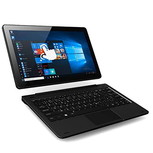 PC-Ordinateur Portable 2-en-1 Tactile Hybride – Winnovo V113 Notebook 4 Go RAM+32 Go Stockage 11, 6 Pouces 1920X1080 FHD IPS Écran Intel Atom Windows 10 Détachable AZERTY Clavier (Gris Foncé)