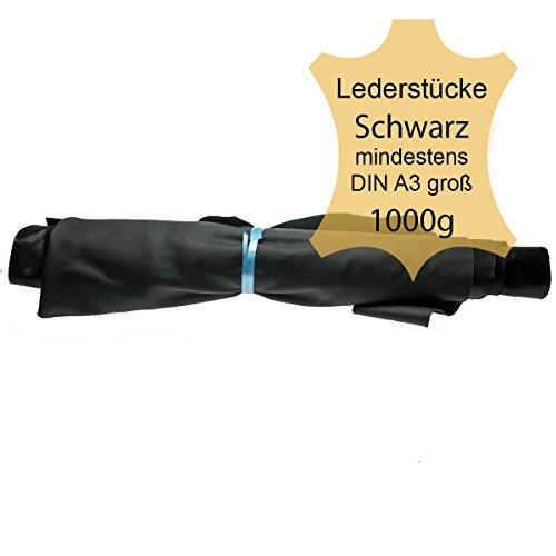 Lederreste Lederstücke extragroß A3 1kg Varianten von schwarzen Farbtönen , alle Stücke mind. DIN A3 groß von Langlauf Schuhbedarf