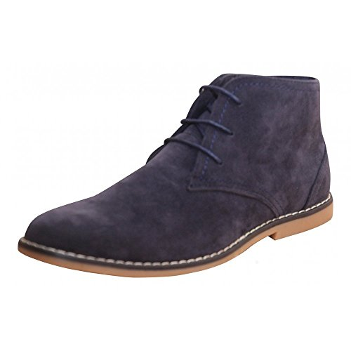 Mens New Black Beige Navy Blue Faux Suede Lace Up Desert Ankle...