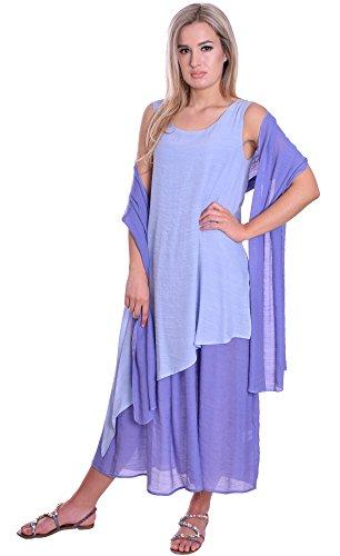 MontyQ Lagenlook Sommerkleid fuer heisse Tage Urlaub Strand Farbe Lavendel 36/38