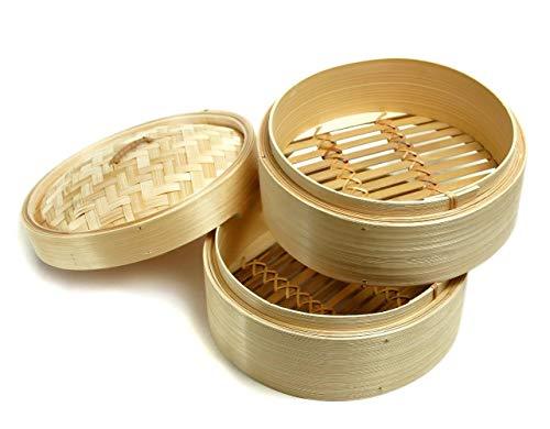 Cestino Bamboo Cottura A Vapore Su 2 Piani Con Coperchio Intrecciato, Cuocivapore Di Bamboo A 2 Ripiani, Vaporizzatore Di Bambù, Set Cestelli In Bambù, 3 Pezzi, Colore Naturale
