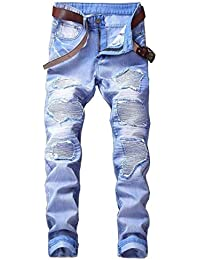 8857c13b5919d9 Freizeithose Männer Nner Mittlere Taille Gerade Multicolor Jungen Zerrissene  Motorrad Jeans Destroyed Jeanshose…