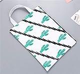 MKILJNH Utile 2Pcs sacchetto del raccoglitore del documento della borsa del modello di Cactus del modello di stile semplice (bianco)