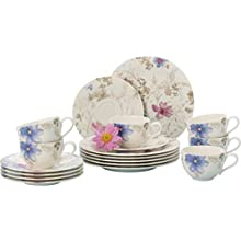 Villeroy & Boch Mariefleur Gris Basic Coffee Set for up to 6 people, 18 pieces, Premium Porcelain, White/Blue/Grey