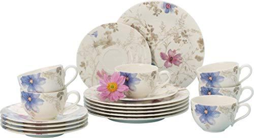 Villeroy & Boch - Mariefleur Gris Basic Kaffeeservice + Mariefleur Tafelset, Geschirr mit Blumenmuster, 18 tlg., Premium Porzellan, weiß/blau/grau