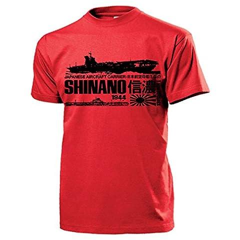 Shinano 1944 Japanisches Schlachtschiff Yamato Klasse Größte Flugzeugträger der Welt Schiff Japan Wk Marine - T Shirt Herren rot #15340
