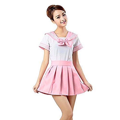 ische Uniform Schule Mädchen Anime Uniform Outfit Sailor Cosplay Kleider Dessous Set Halloween Sexy Kostüm (Pink, S) ()