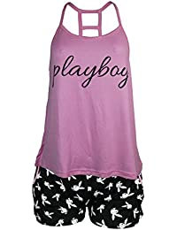 Playboy Sleepwear Womens Open Back Tank Top and Shorts Set