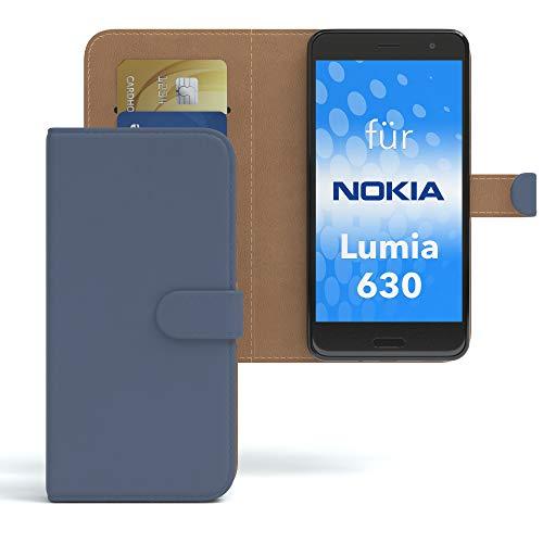 EAZY CASE Hülle für Nokia Lumia 630 Dual SIM Bookstyle mit Standfunktion, Book-Style Case aufklappbar, Schutzhülle, Flipcase, Flipstyle, Flipcover mit 2 Kartenfächern aus Kunstleder, Dunkelblau