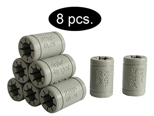 Igus - Set de cojinetes de deslizamiento para reemplazar los LM8UU de una impresora 3D RepRap, Mendel, Anet A6y A8 oPrusa i3, Anet A6 LM8LU Ersatz, 8 x RJ4JP-01-08 (Igus DryLin®), 1