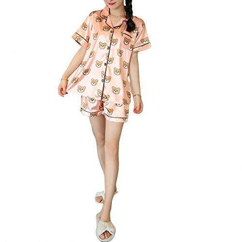 ZREED Damen Soft Pyjamas Set Kurzarm Tops & Bottom Pyjamas Set Nachtwäsche NachtwäscheBear/Pink V-Neck Cardigan
